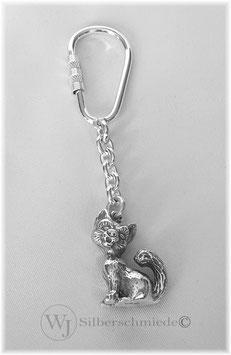 Katze Schlüsselanhänger Sterling-Silber 925