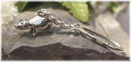 Glücksschwein massiv stehend - Schlüsselanhänger Silber 925