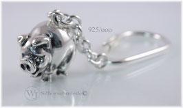 Glücksschwein Schlüsselanhänger Silber 925