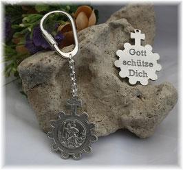 GOTT SCHÜTZE DICH, Schlüsselanhänger Heiliger Christophorus, versilbert