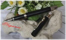 Füller ELEGANCE lackiert, Füllhalter, Clip Silber 925, Endkappen + Ring platiniert