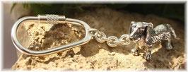 Dackel, Rauhhaardackel stehend, Schlüsselanhänger Sterling-Silber 925