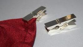 Serviettenklammern versilbert, zwei Stück im Set, Befestigungs-Clip in Form einer kleinen Wäscheklammer