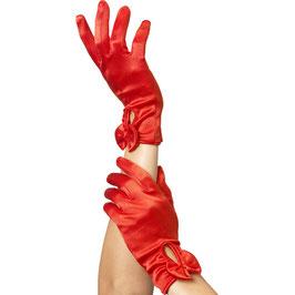 Handschuhe mit Schleife in Rot