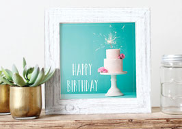"Print ""Happy Birthday"" Torte türkis"
