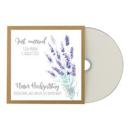 CD Hülle Kraftpapier im Lavendeldesign