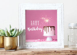 "Print ""Happy Birthday"" Torte rosa"