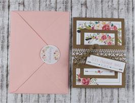 """Einladungs-Set """"Vintage Flowers"""""""