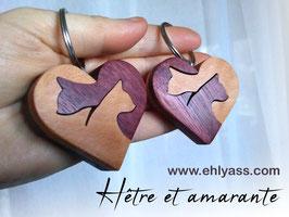 Porte-clés Coeur de Chats en plusieurs bois