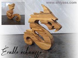 Sculpture Dragon sinueux en érable échauffé (ÉPAIS)