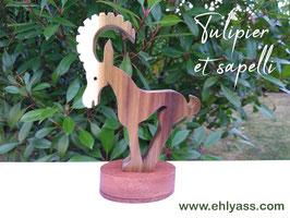 Sculpture Chèvre grecque historique en tulipier (SOLDES)