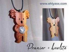 Amulette Koala debout en bois + Pierre