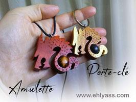 Amulettes Dragons en bois + Pierres