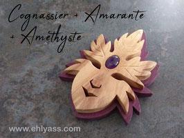 Petite sculpture Masque Feuilles / esprit de l'arbre sur socle + Améthyste