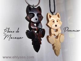 Porte-clé Renard / loup farceur sculpté (plusieurs bois possibles)