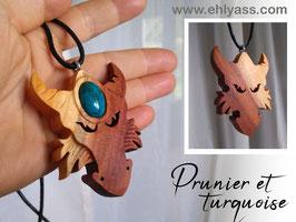 Amulette Tête de dragon en bois + Pierre