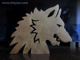 Sculpture Tête de loup grondant