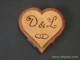 Coffret d'alliances boîte Cœur + initiales