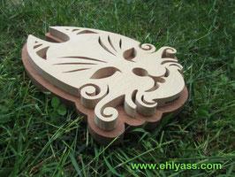 Sculpture Masque Chat stylisé en deux bois massifs