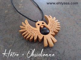 Amulette Chouette sculptée + pierre