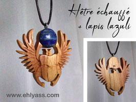 Amulette Scarabée Khepri en bois + lapis lazuli