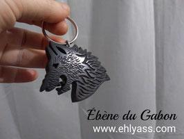 Porte-clé Loup sculpté (divers bois)