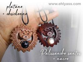 Amulettes Hérissons en bois + Pierres
