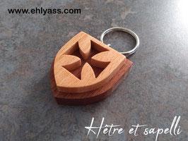 Porte-clés Croix des Templiers (2 bois)