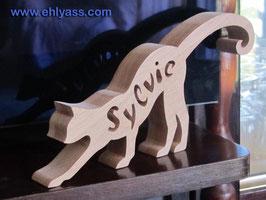 Sculpture Chat debout + prénom jusqu'à 6 lettres