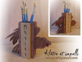 Pot à pinceaux ou crayons Corbeau Huginn et Muninn en deux bois