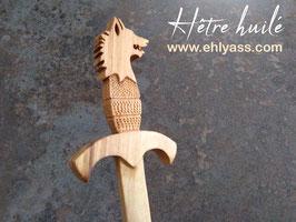 Dague décorative Loup sculptée