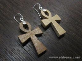 Boucles d'oreilles Ankh en bois
