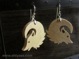 Boucles d'oreilles Loups en bois