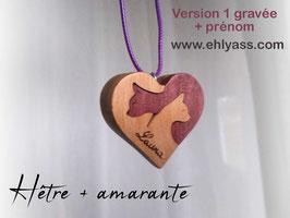 Amulette Coeur de Chats en plusieurs bois (lisse ou gravé + prénom)