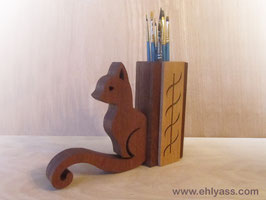 Pot à pinceaux ou crayons Chat en deux bois