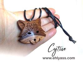 Amulette Tête de Loup / Renard sculptée