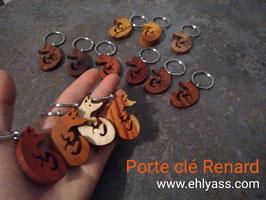 Porte-clé Renard en différents bois