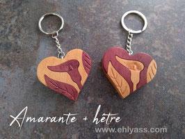 Porte-clés Cœur de fleur d'Arum en plusieurs bois