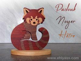Sculpture Panda roux en 4 bois