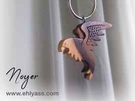Porte-clé Faucon / aigle/ corbeau sculpté (divers bois)