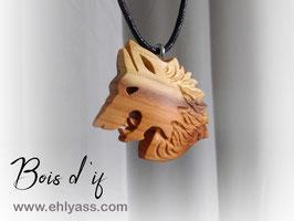 Amulette Loup sculpté (plusieurs bois possibles)
