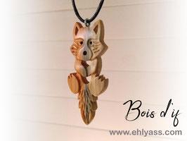 Amulette Renard / loup farceur sculpté (plusieurs bois possibles)