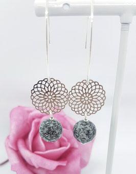 """Ohrhänger Schremser-Granit """"Blume des Lebens"""", 925 Sterling Silber"""
