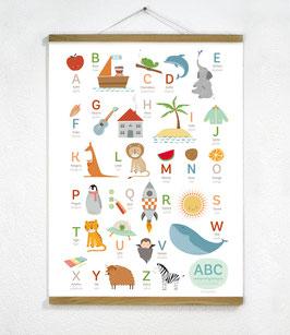 ABC Poster Bilingual + Posterleiste 50cm Eiche