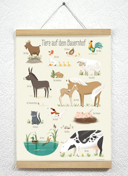 Tiere auf dem Bauernhof Poster + Posterleiste A3 Eiche