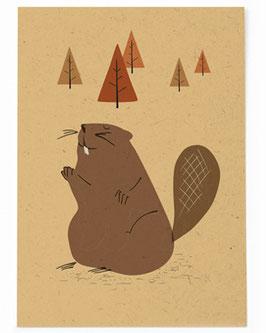 SALE - Postkarte Biber