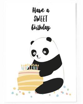 SALE Postkarte Geburtstag Panda