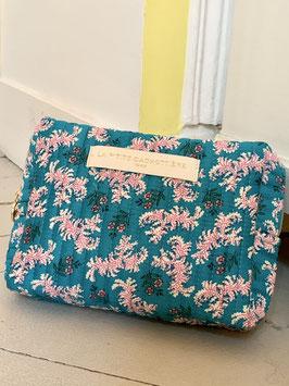 Pochette à maquillage turquoise, imprimé fleurs petit modèle