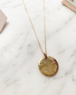 Collier médaille bombée PERSONNALISÉe  sur chaîne