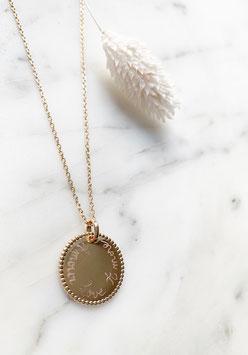 Collier médaille dentelle PERSONNALISÉe  sur chaîne